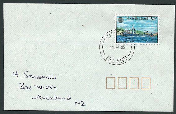 NORFOLK IS 1995 cover to New Zealand - 30c Motor Ship Chantik..............42787