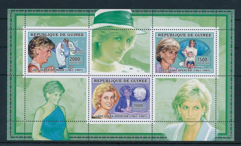 [21609] Guinea 2006 Princess Diana Mother Teresa Sheet MNH