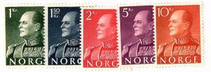 NORWAY 1959 Scott 370-74 cmplt unused set scv $90.50 less 90%=$9.05