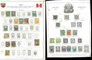 Peru 1866-1939 Used (a few Mint) Hinged on a Mess or Remaindered Psges