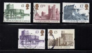 Great Britain Sc 1445-48 1992 Castles High Value stamp set used