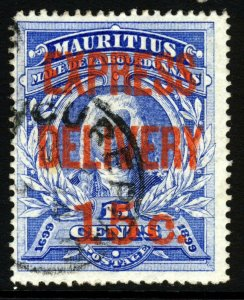 MAURITIUS 1903 EXPRESS DELIVERY STAMP Surcharged 15c. in RED SG E1 VFU