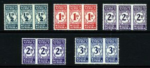 SOUTH AFRICA 1943-44 COMPLETE Rouletted POSTAGE DUES Set SG D30 to SG D33 MINT