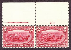 US 286 2c Trans-Mississippi Plate #701 Inscription Pair F-VF OG H SCV $60