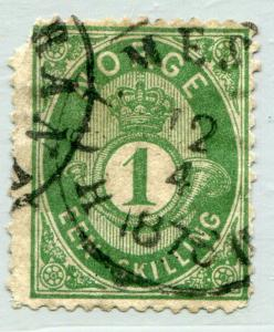 NORWAY #16A Fine Used Issue - CLIPPED CORNER - POSTAL HORN AND CROWN - S7821