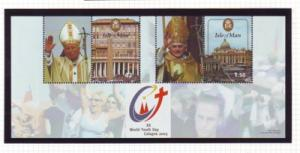 Isle of Man Sc 1120 2005 World Youth Day Pope stamp sheet mint NH
