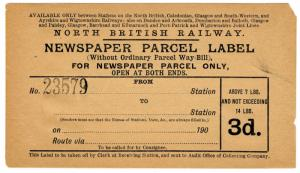 (I.B) North British Railway : Newspaper Parcel 3d