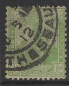 SOUTH AUSTRALIA SG293a 1907 ½d PALE YELLOW-GREEN USED