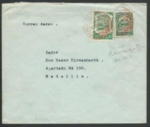 COLOMBIA 1923 SCADTA airmail cover Barranquilla to Medellin................61296
