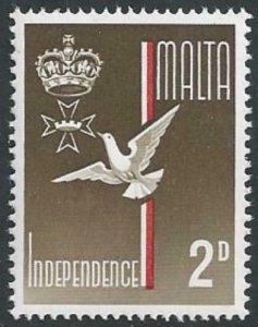 1964 Independence. 2d MISSING GOLD. SG 321a.
