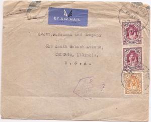 Jordan 1944 A/M Censored cover to USA (bao)