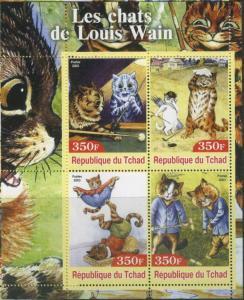 TCHAD CHAD SHEET ART PAINTINGS CATS LOUIS WAIN