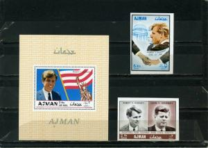 AJMAN 1968-1969 FAMOUS PEOPLE BROTHERS KENNEDY SET OF 2 STAMPS IMPERF. & S/S MNH