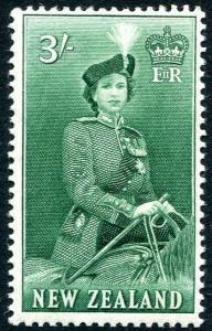 NEW ZEALAND-1954 3/- Bluish-Green Sg 734 UNMOUNTED MINT V28449