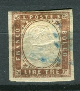 ITALY; SARDINIA 1855 Scarce classic Imperf issue used SHADE of 3L. value