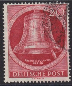 GERMANY 1952 Freedom Bell 20pf clapper to right fine used...................4012