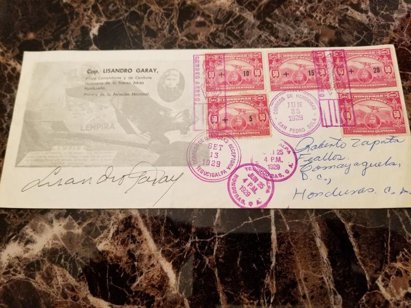 1929 San Pedro Sula Honduras Cover Signed Flown by Captain Lisandro Garay Pilot