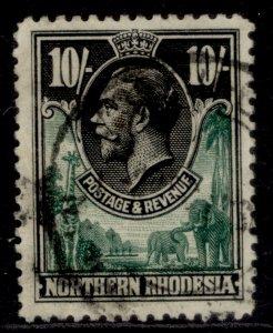 NORTHERN RHODESIA GV SG16, 10s green & black, FINE USED. Cat £100.