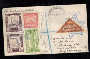 1932 Paraguay Graf Zeppelin Cover to Liverpool England  LZ 127 Star of David