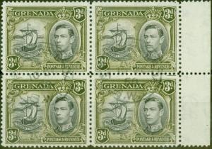 Grenada 1950 3d Black & Brown-Olive SG158ba Colon Flaw in a V.F.U Block of 4