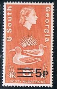 South Georgia 24b variant, 5p on 6d Sooty Albatross, MNH, VF