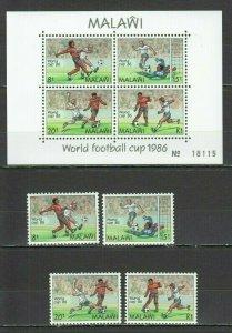 H1303 MALAWI FOOTBALL WORLD CUP MEXICO 1986 MICHEL 24 EURO #465-8+BL66 MNH
