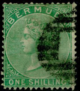 BERMUDA SG8, 1s green, used. Cat £70.
