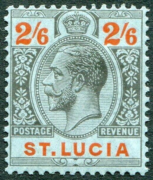 ST LUCIA-1924 2/6 Black & Red/Blue Sg 104 MOUNTED MINT V49018