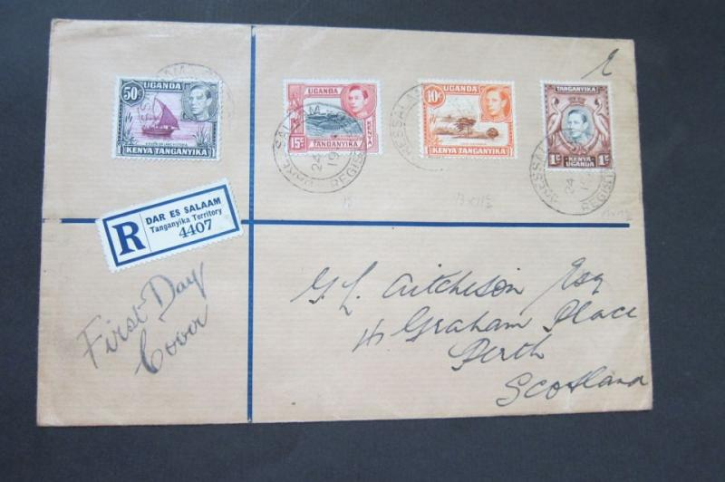 KUT 1938 KGVI Reg. FDC cover to Scotland