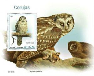 Sao Tome & Principe 2021 MNH Birds on Stamps Owls Northern Hawk Owl 1v S/S
