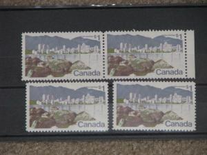 Canada Scott# 600, pair and 2 singles, MNH