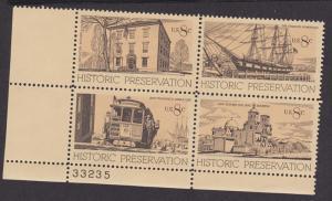 1440 -1443 Historic Preservation MNH Plate Block  33235 LL