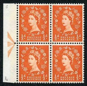 S9 1/2d Orange Crowns Wmk U/M Arrow Block 4 Green Phosphor