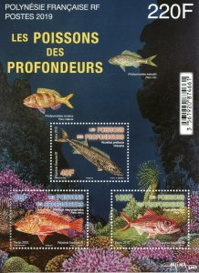 French Polynesia Fish Stamps 2019 MNH Deep Sea Fishes Marine Snapper 3v M/S
