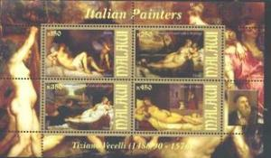 Malawi 2010 M/S Italian Painter Art Painting Tiziano Vecelli Nude People Stamps
