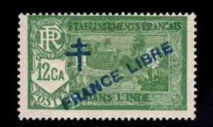 FRENCH INDIA  Scott 160 MH* France Libre overprint