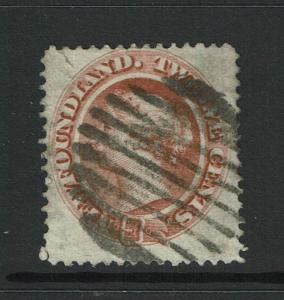 Newfoundland SC# 28 Used / Hinge Rem / Small Left Top Tear - S2773