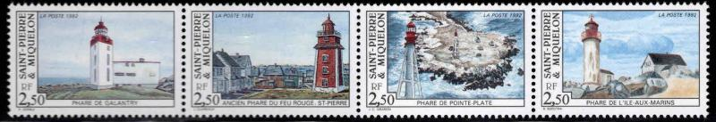 St. Pierre & Miquelon Scott 580 MNH** 1992 Lighouse strip
