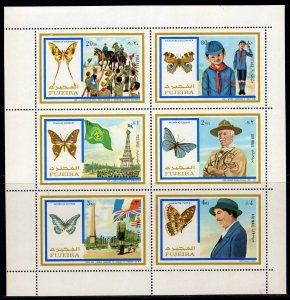 Fujeira 1972 SCOUTS BUTTERFLIES HORSES Sheet Perforated Mint (NH)
