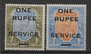 INDIA SGO102/3 1925 SURCHARGES ON ISSUE OF 1912-3 MTD MINT