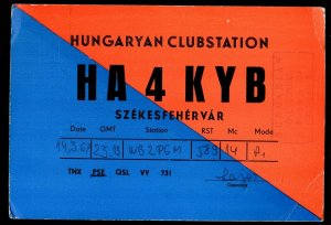 QSL QSO RADIO CARD HA4KYB,Hungaryan Clubstation,Szekesfehervar,Hungary (Q3572)