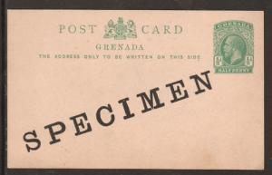 Grenada H&G 13, 1912 ½p KGV SPECIMEN Postal Card F-VF