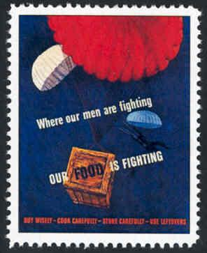 Patriotic WW2 Poster Stamp - Where Our Men Are - Cinderella