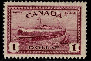 CANADA GVI SG406, $1 purple, NH MINT. Cat £23.