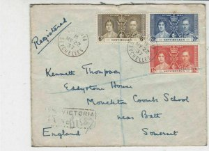 Seychelles 1937 Registered Victoria Cancels Multiple Stamps Cover Ref 33585