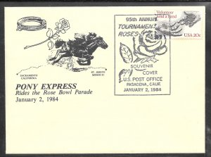 Just Fun Cover #2039 Pasadena Cal. JAN/2/1984 Pony Express Rose Bowl (my5009)
