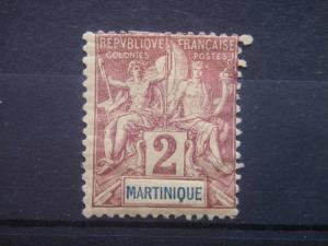 MARTINIQUE, 1892, MH 2c, MARTINIQUE. Scott 34