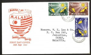 Malaysia SC#1-3 Inauguration of Federation (1963) North Borneo Cancel FDC