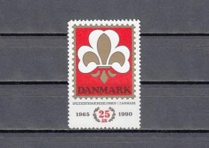 Denmark, 1990 issue. 25 Years of Scouting Label.