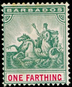 BARBADOS SG105, 1/4d slate-grey & carmine, M MINT. WMK CA